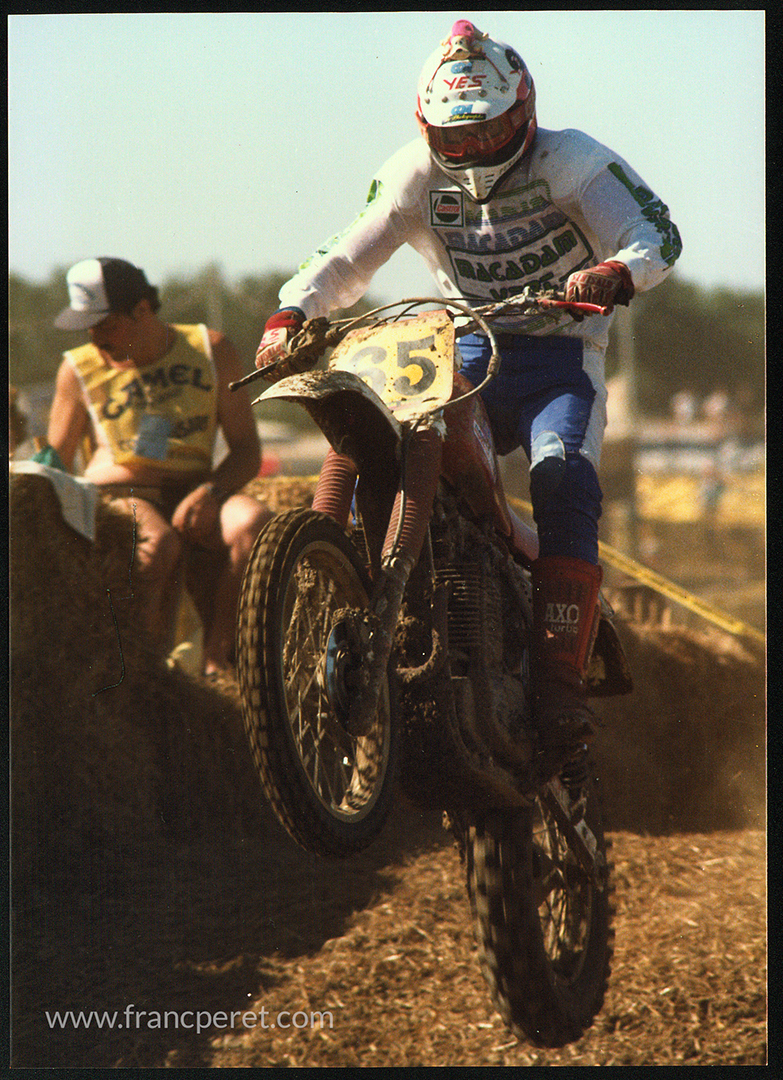 1987 I am Racing 24h of Bretagne, a unique off-road endurance race on a 600cc Rotax. Despite the weight of this big format machine, jumping was part of the game day and night. Flying in the complete darkness was such a magic feel.