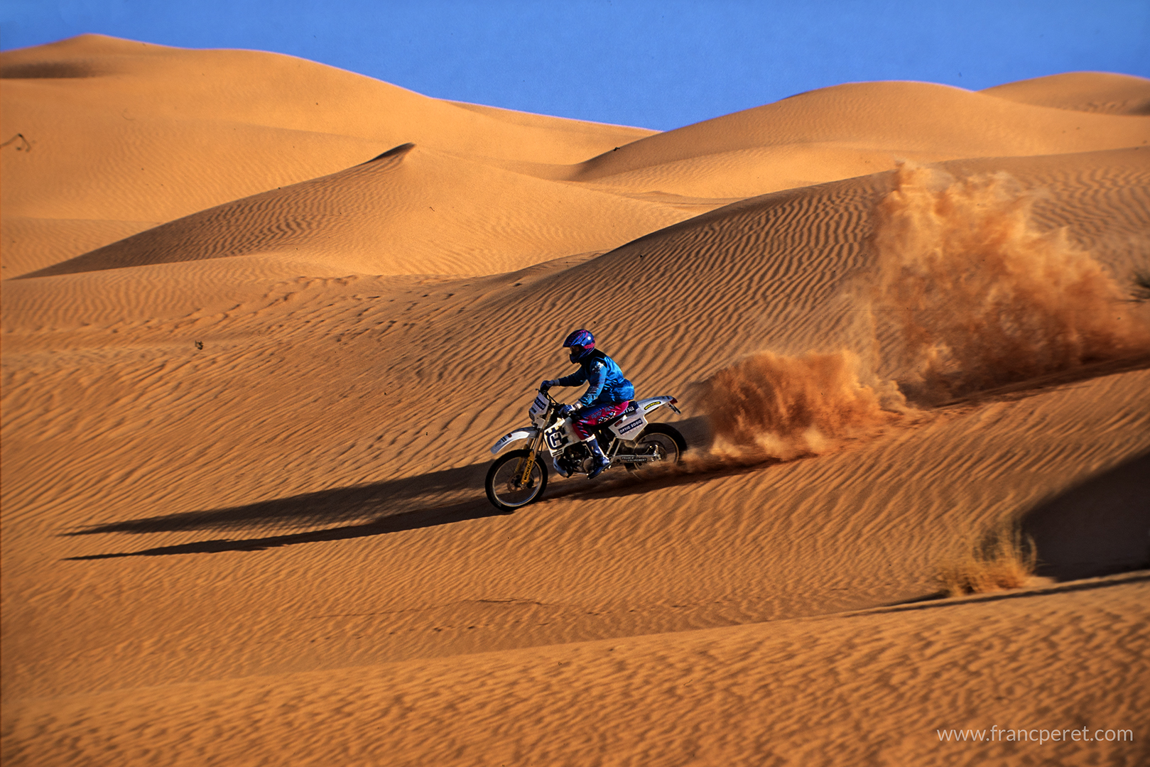 Sometime, my job was to drift in the Tunisian Desert (1990) riding a racing bike, one of my best riding memory, a unique moment.