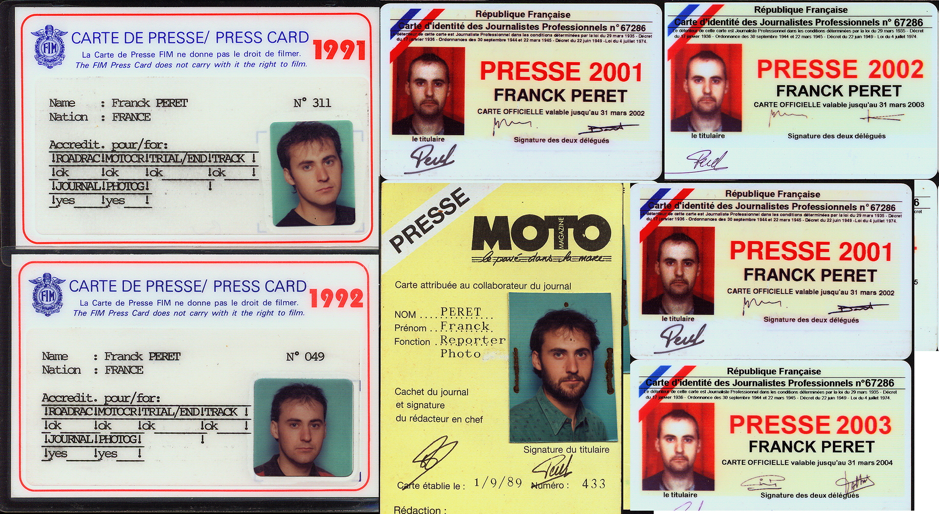 Some of my press card