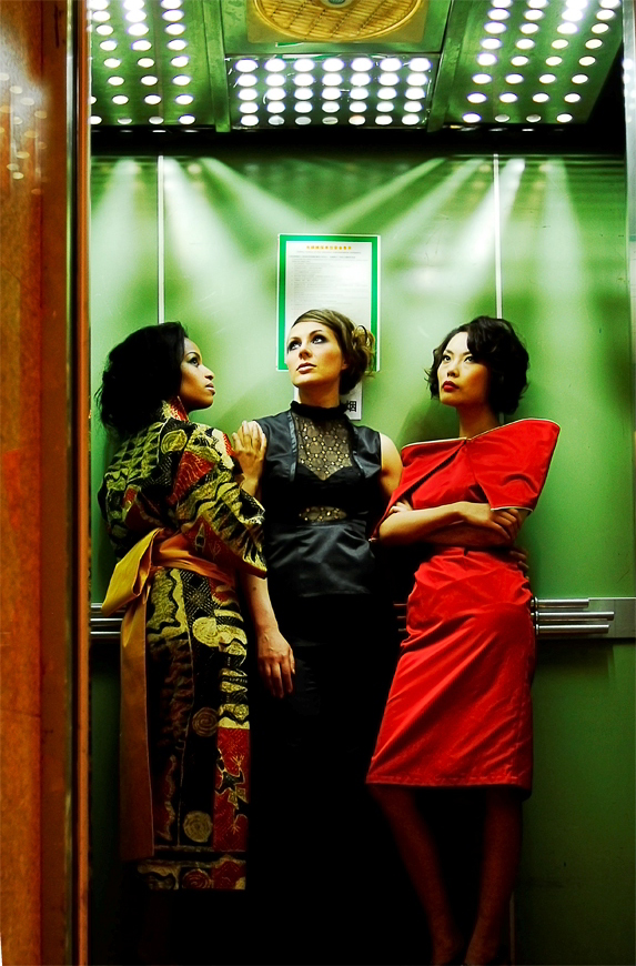 Fashion Shot in a Lift with natural light.