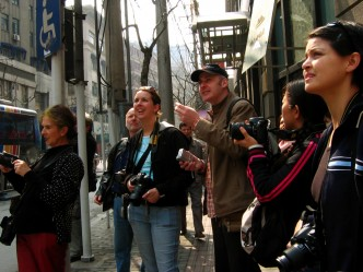 One of my very first class, shooting in the street with students for ELC Shanghai