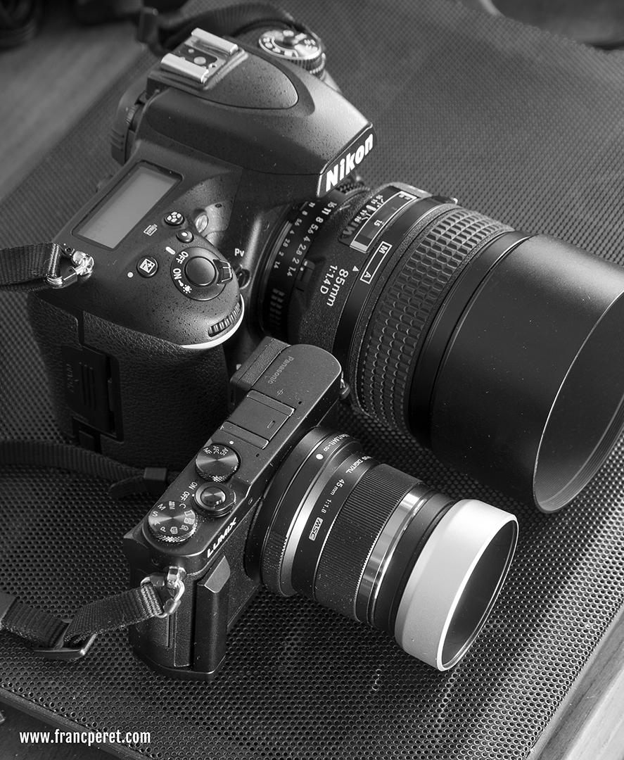 My favorite B&W shooting companion, the tiny Panasonic GM-5 next to my working tool (Nikon D750).